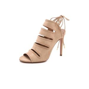 Aquazzura Natural Sloane Suede Cutout Sandal